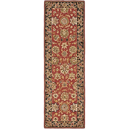 Safavieh Chelsea Collection HK505C Hand-Hooked Rose and Black Premium Wool Runner 2 6 x 12