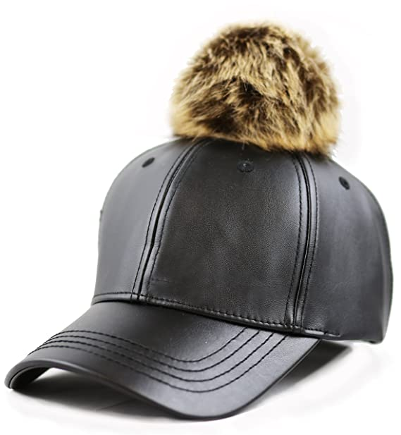 f5d5f555e THE HAT DEPOT Faux Leather Pom Curves Bill Baseball One Size Cap