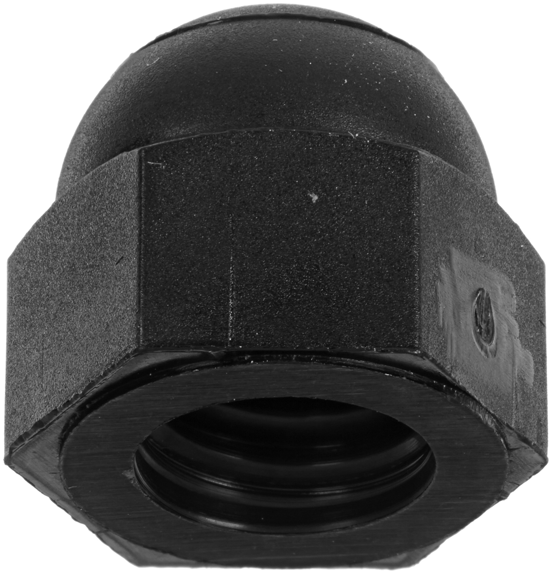 Nylon 6/6 Acorn Nut, USA Made, Black, 5/16''-18 Thread Size, 1/2'' Width Across Flats, 17/32'' Height, 23/64'' Minimum Thread Depth (Pack of 50) by Small Parts