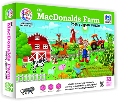 RATNAS Old MACDONALDS Farm Poetry Jigsaw 2 in 1 for Kids, LET Their Poetry Learning Begin at Home