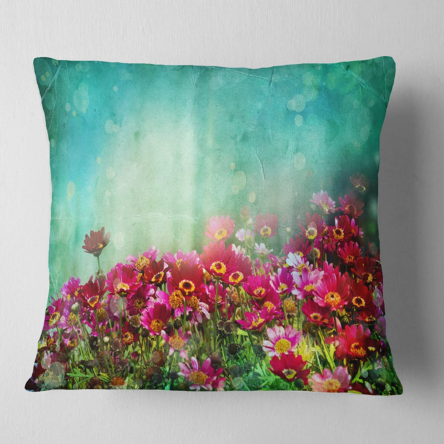 Sofa Throw Pillow 18 x 18 Designart CU14179-18-18 Little Red and Pink Flowers on Blue Floral Cushion Cover for Living Room