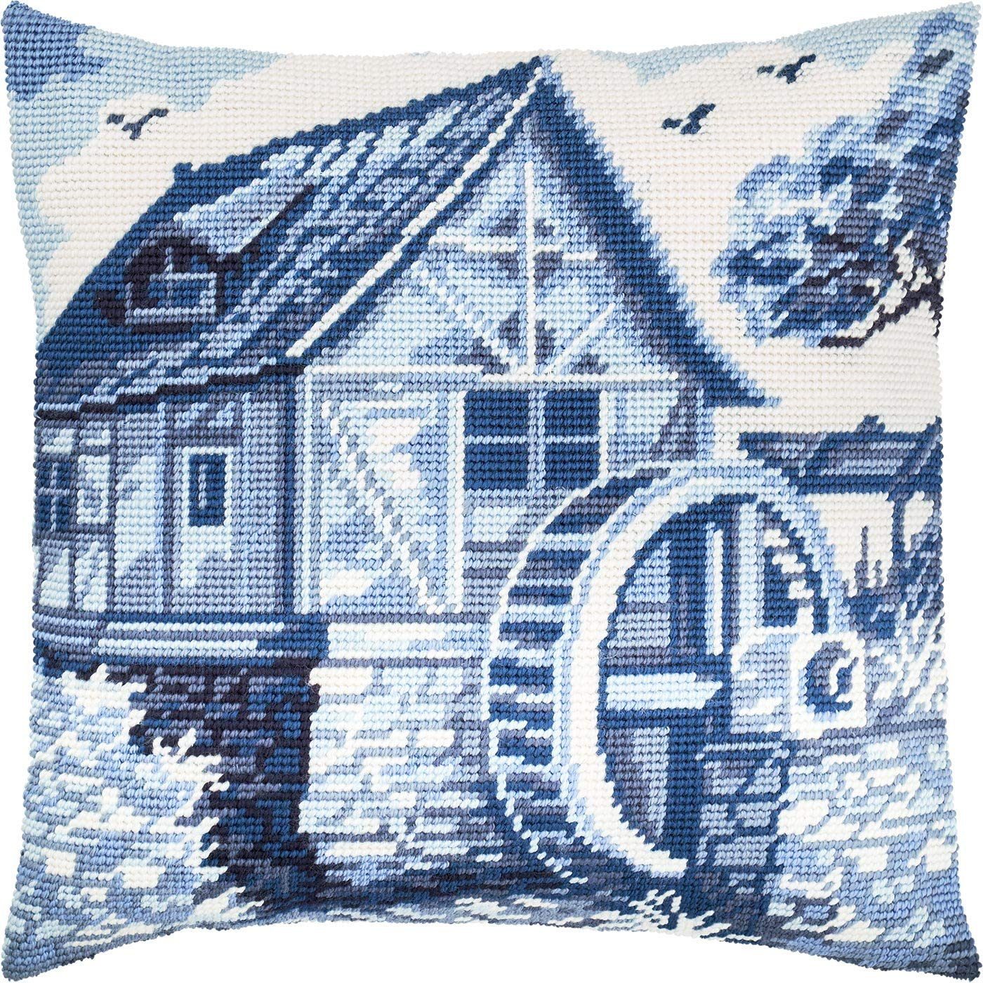 Throw Pillow 16/×16 Inches Printed Tapestry Canvas Cross Stitch Kit European Quality Mediterranean