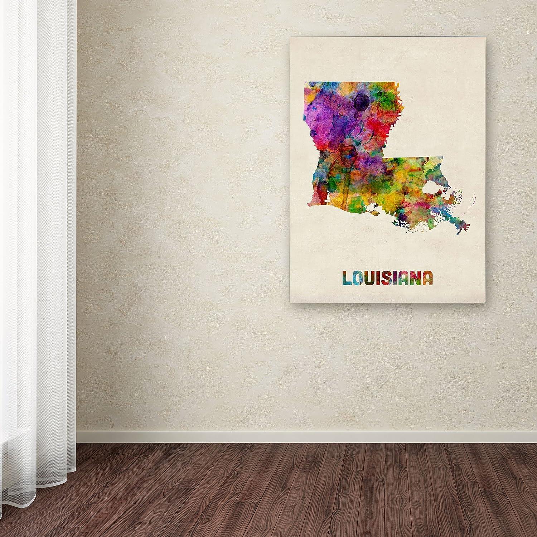 Louisiana Map by Michael Tompsett, 14 by 19-Inch Canvas Wall Art