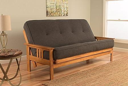 Kodiak Furniture KFMOBTLCHALF5MD3 Monterey Futon Set with Butternut Finish Full Linen Charcoal