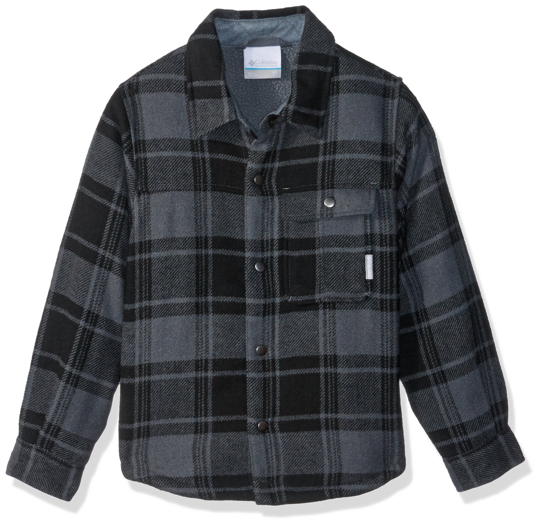 Columbia Boys' Little Windward Sherpa-Lined Shirt Jacket, Grill Plaid, X-Small by Columbia