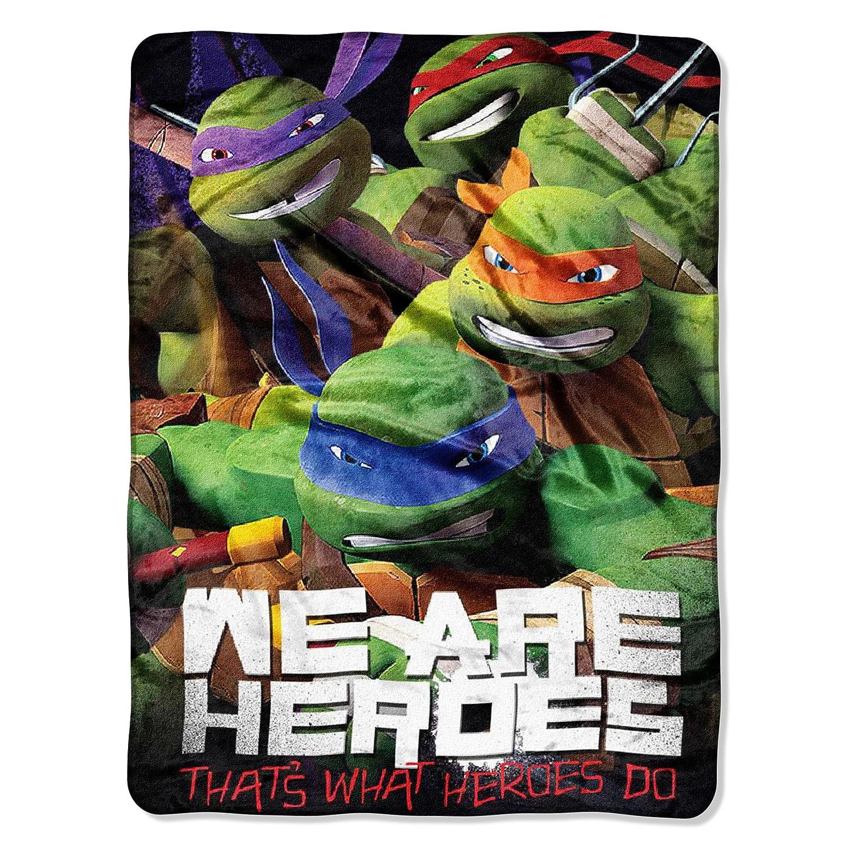 """Nickelodeon's Teenage Mutant Ninja Turtles, """"We Are Heroes"""" Micro Raschel Throw Blanket, 46"""" x 60"""", Multi Color"""