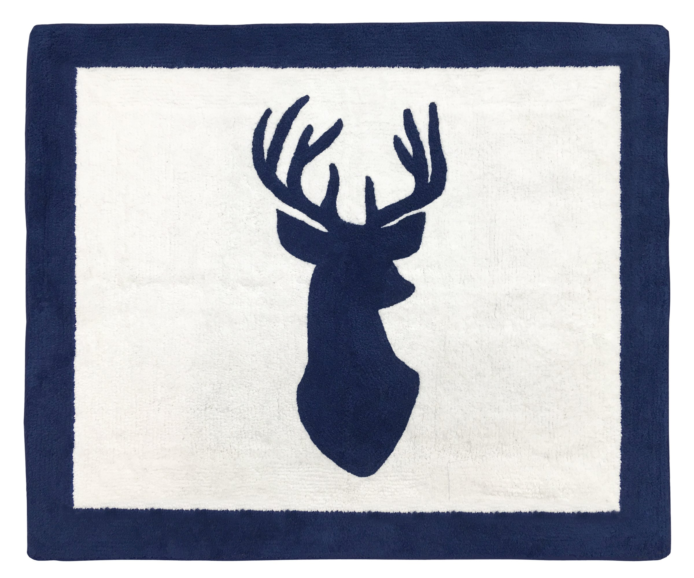 Sweet Jojo Designs Boys Accent Floor Rug Bedroom Decor for Navy and White Woodland Deer Kids Bedding Collection by Sweet Jojo Designs
