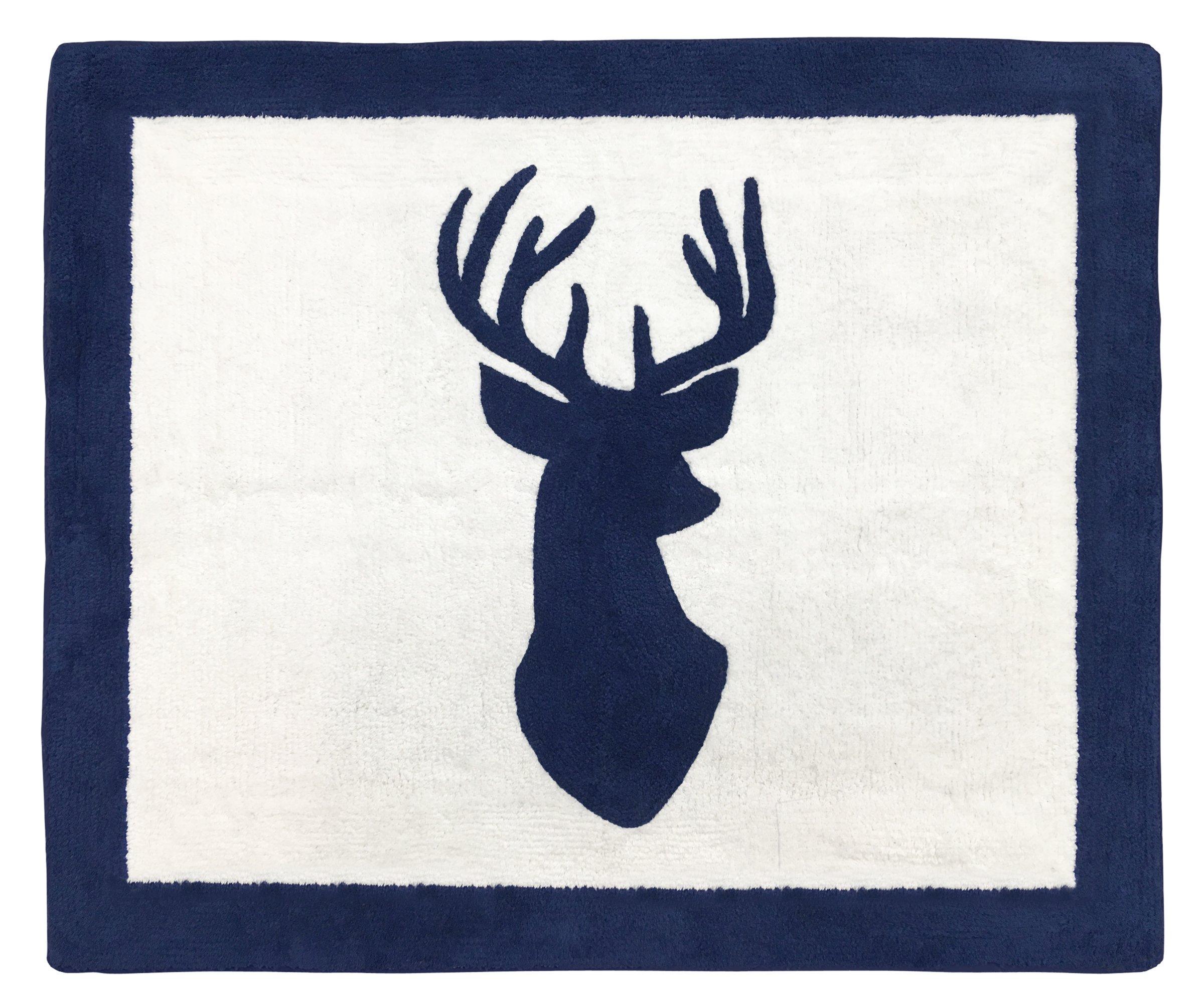 Sweet Jojo Designs Boys Accent Floor Rug Bedroom Decor for Navy and White Woodland Deer Kids Bedding Collection