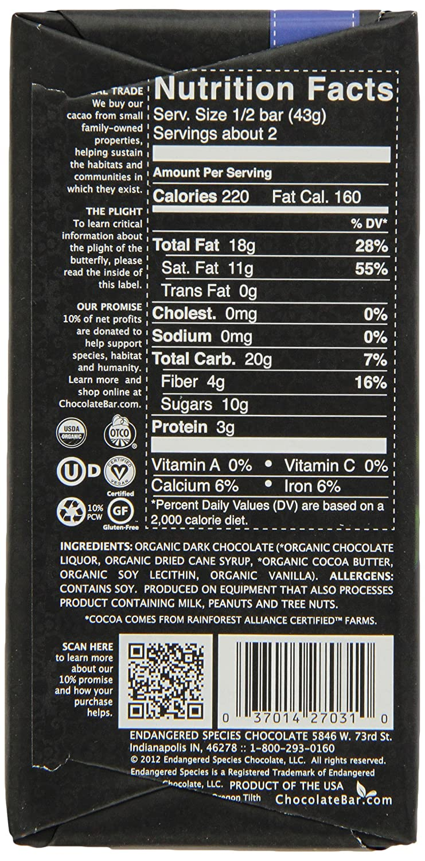 Amazon.com : Endangered Species Chocolate, Organic Dark Chocolate ...