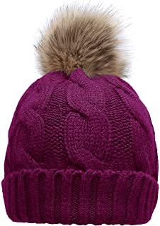 f496ddac7e4 NEOSAN Women s Winter Ribbed Knit Faux Fur Pompoms Chunky Lined Beanie Hats