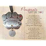 """Pet Memorial Ornament - 3"""" Metal Casted Paw Print Design Ornament with Engravable Drop Pendant - Beautiful Remembrance Gift For a Grieving Pet Owner - Includes """"Pawprints Left By You"""" Poem Card"""