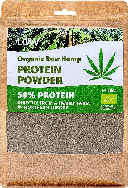 Polvo de proteína de cáñamo cruda orgánica, 1kg, 50% de proteína, sin tratamiento térmico, conserva todos los nutrientes, sabor a nuez, cultivado en clima nórdico, polvo de proteína vegana, no es OGM