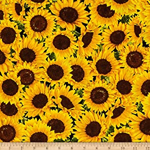 Timeless Treasures Sunflower Farm Packed Sunflowers Sunflower Fabric by The Yard