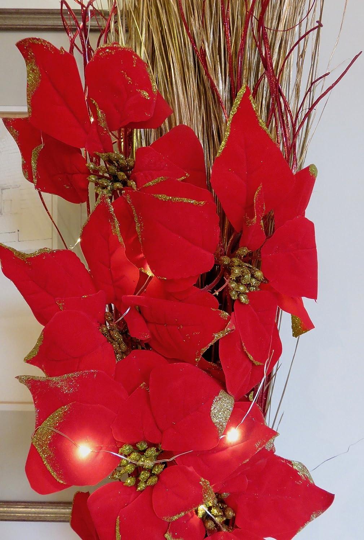 Luminoso Rojo Pascua De Navidad Diseño De Arreglo Floral