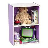 IRIS 2-Tier Wood Storage Shelf, Purple