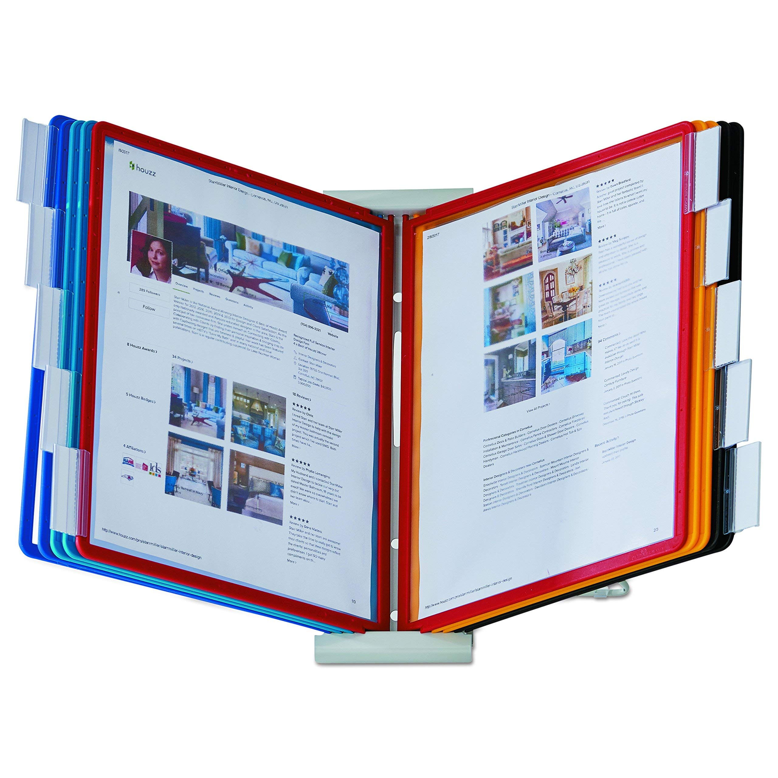 DURABLE INSTAVIEW 10-Panel Desktop Reference System, Assorted Color Borders (561200) (Renewed)
