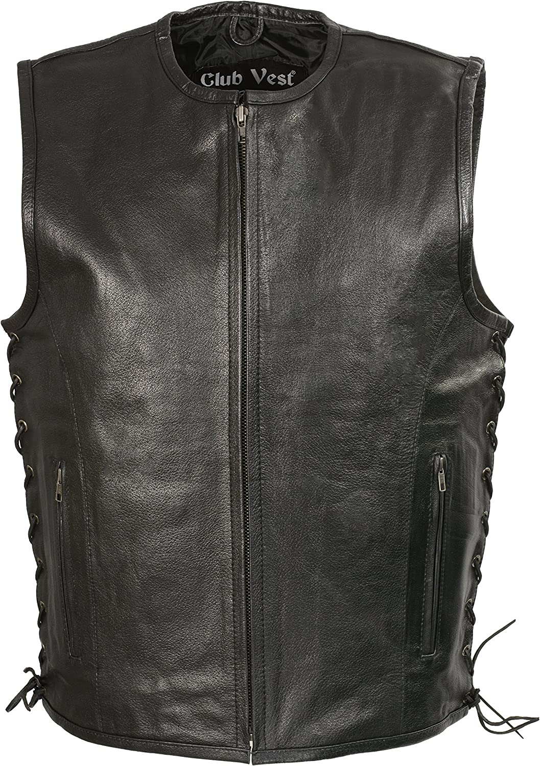 CLUBVEST-Men's Zipper Front Side Lace Large special price !! w Leather At the price Seamless De Vest