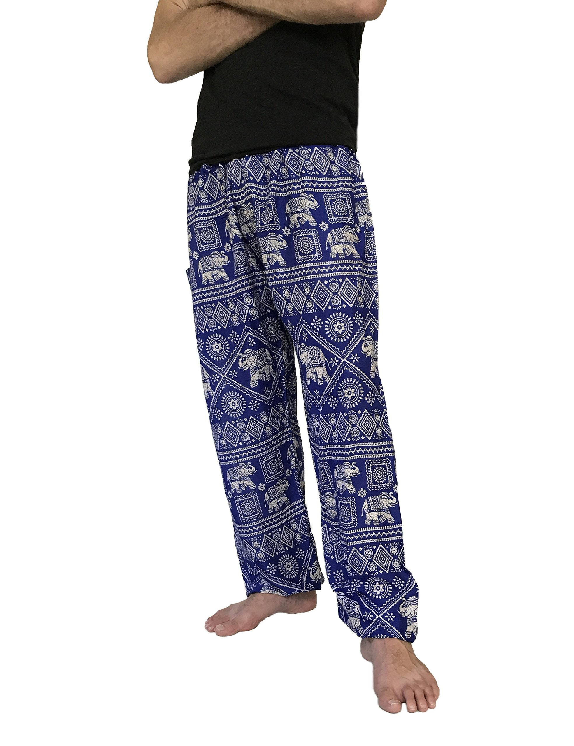 Love Quality Men's Baggy Printed Harem Pants (Light Blue)