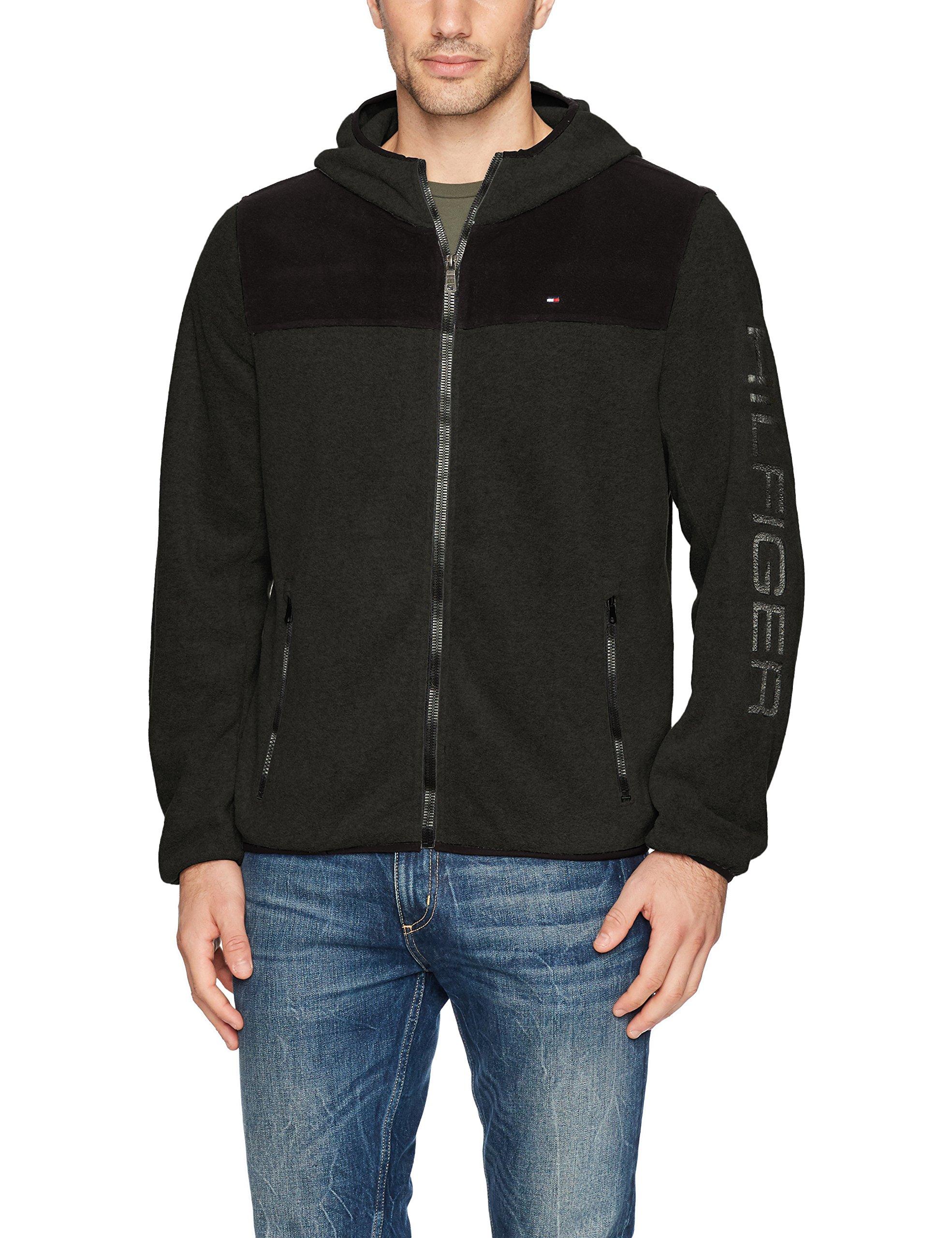 Tommy Hilfiger Men's Hooded Performance Fleece Jacket, Black/Charcoal, Small