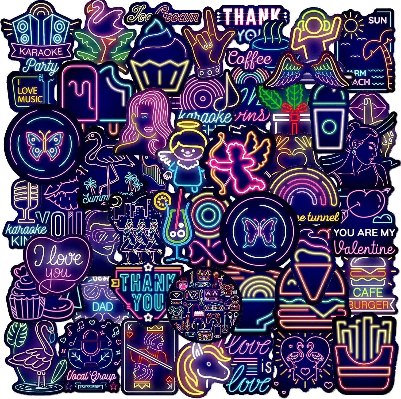 50Pcs Cool Neon Light Sticker for Teen Cute Animal Food Graffiti Waterproof Sticker for Skateboard Computer Water Bottle