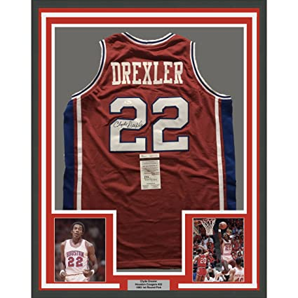 9a4f87c4163 Framed Autographed Signed Clyde Drexler 33x42 Houston Red College  Basketball Jersey JSA COA at Amazon s Sports Collectibles Store