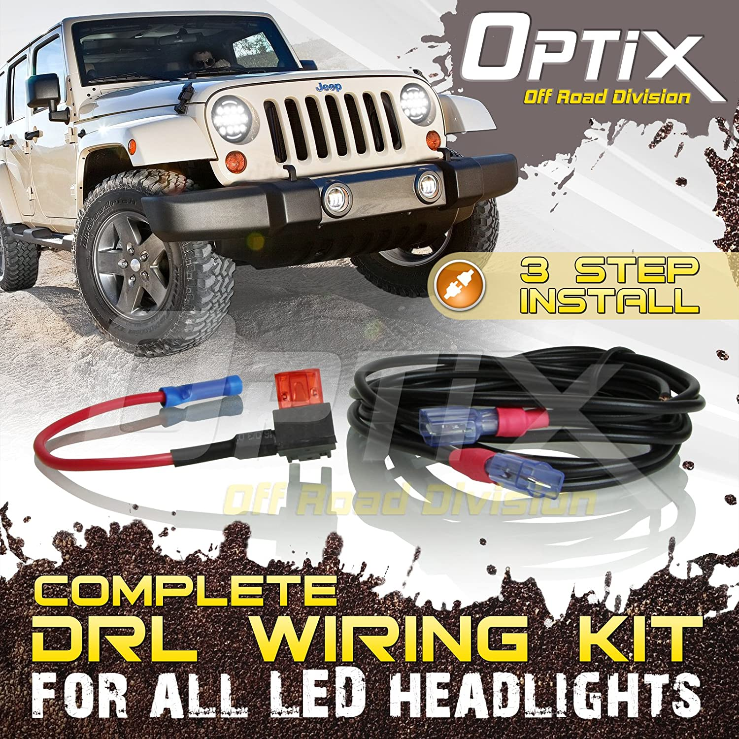 Optix Complete Drl Wiring Adapter Harness Kit For 7 Aftermarket Car Round Led Headlight With Daytime Running Lights 1997 2016 Jeep Wrangler Tj Lj Jk Made