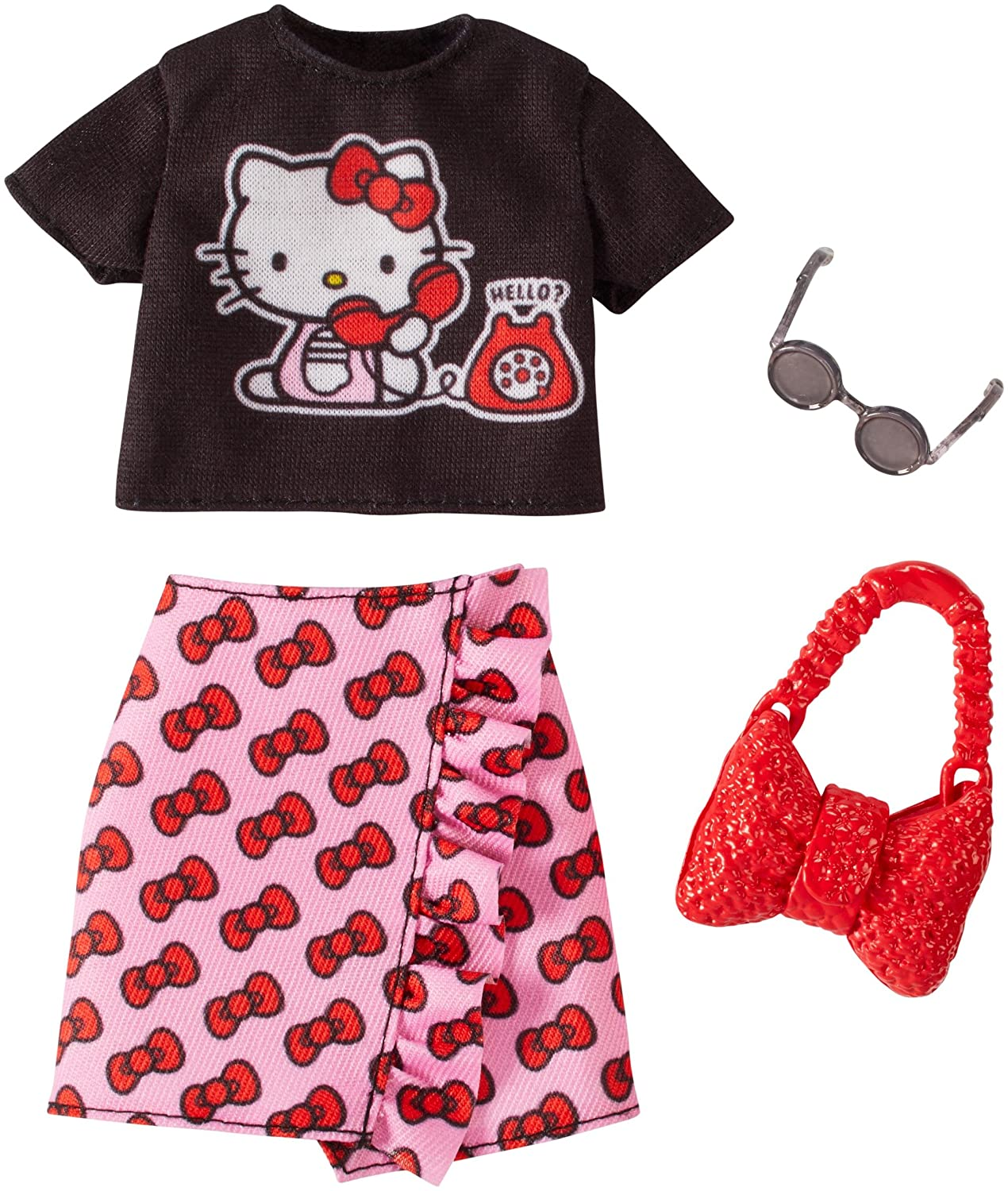 Barbie Hello Kitty Black Top and Pink Skirt Fashion Pack Mattel FKT19