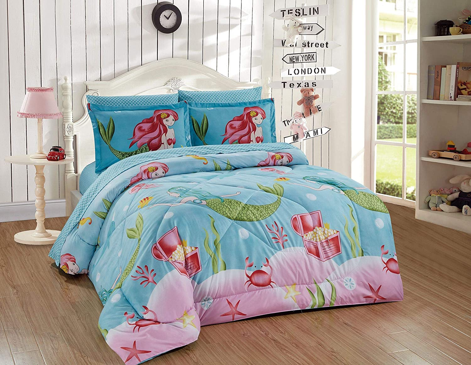 Better Home Style Blue Pink Green Under the Sea Life Mermaid with Crabs and Starfish Printed Fun Design 5 Piece Comforter Bedding Set for Girls Teens Bed in a Bag with Sheets # Mermaid Treasure (Full)