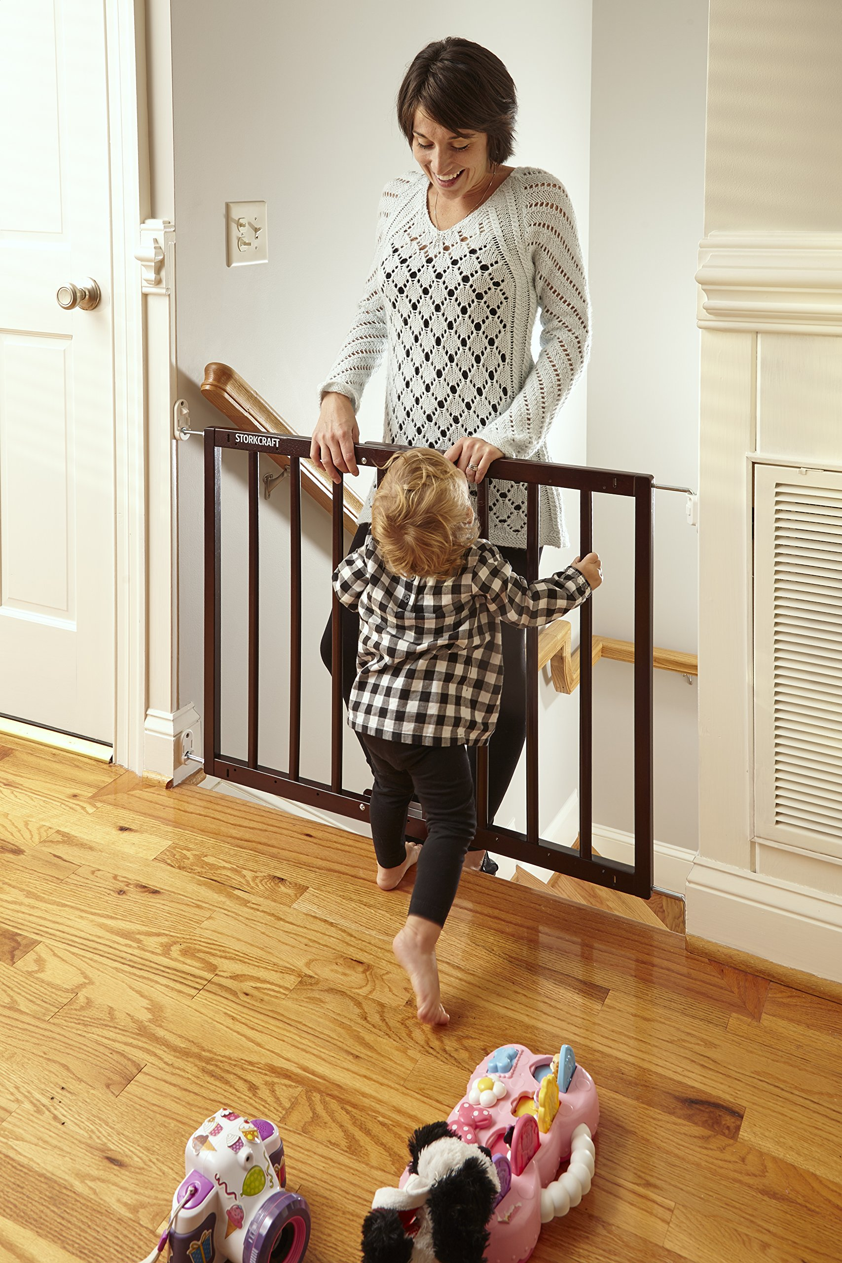Storkcraft Easy Walk-Thru Wooden Safety Gate, Espresso Adjustable Baby Safety Gate For Doorways and Stairs, Great for Children and Pets by Stork Craft (Image #12)
