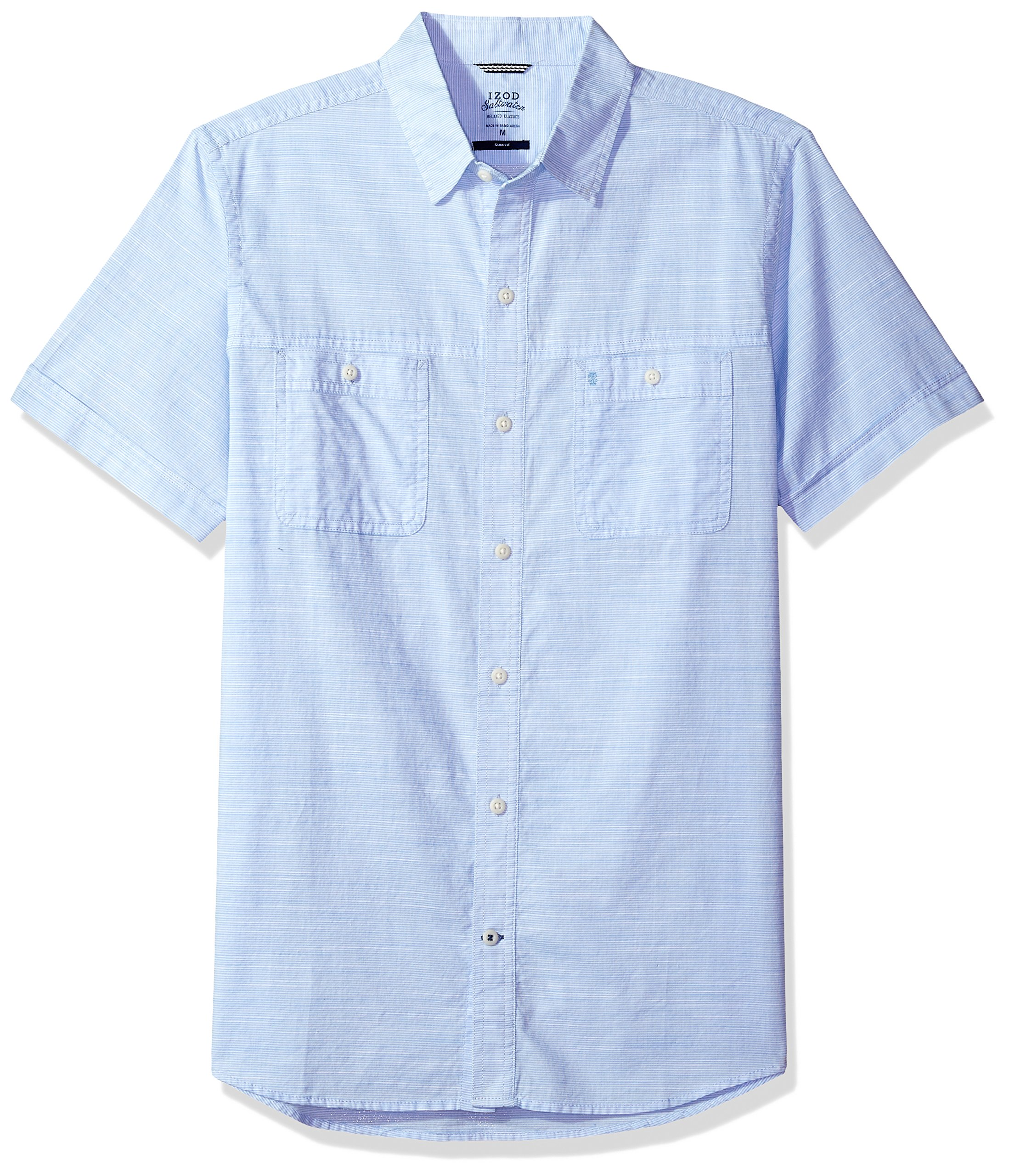 IZOD Men's Saltwater Dockside Chambray Solid Short Sleeve Shirt (Regular Fit), Little Boy Blue, Large Slim