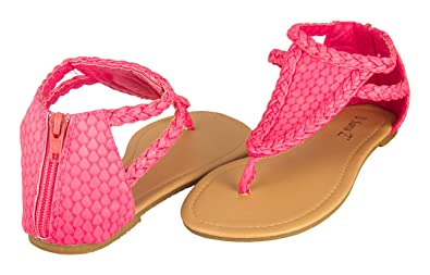 0be87ee8fd4bd Sara Z Girls Mermaid Scales and Braids Triangle T Strap Flat Sandals  Fuchsia Size 2