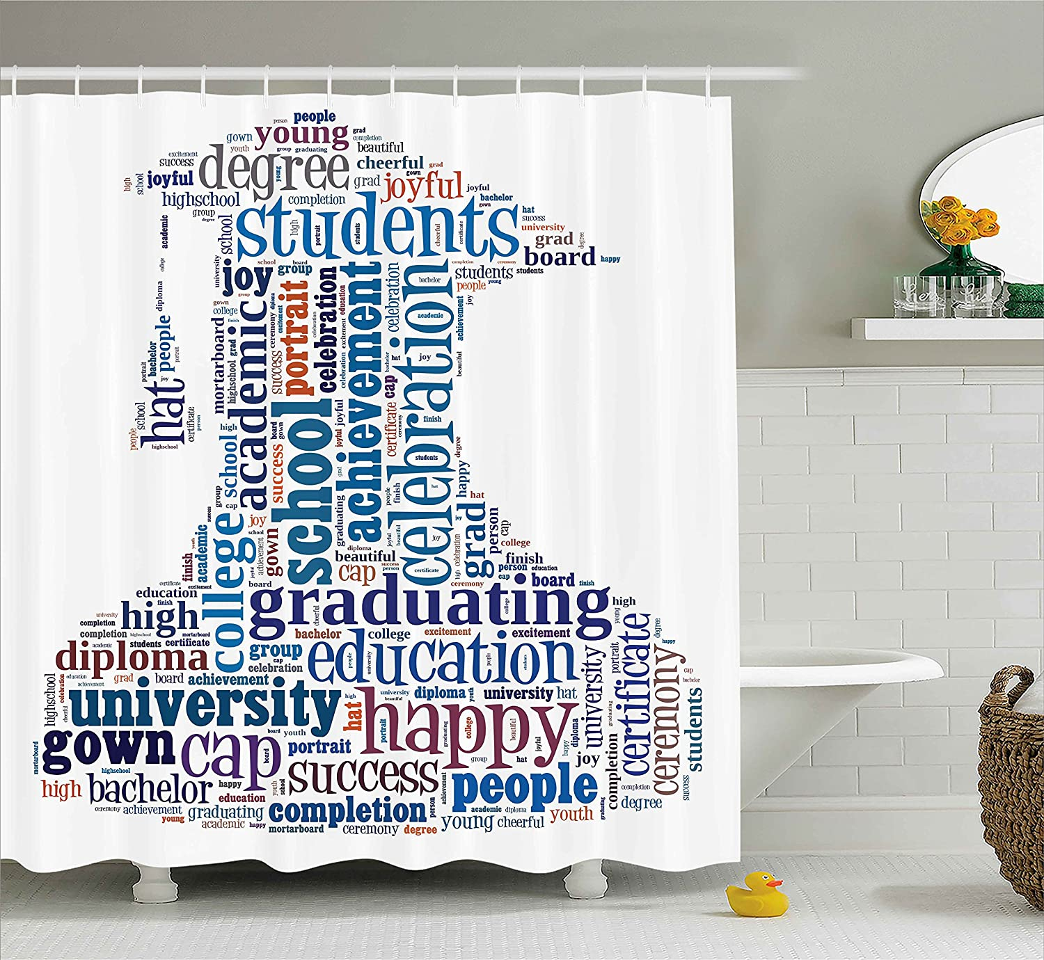 Ambesonne Graduation Shower Curtain By Education Cap Arrangement With Words Bachelor School Young Student Grown Design Fabric Bathroom Decor Set