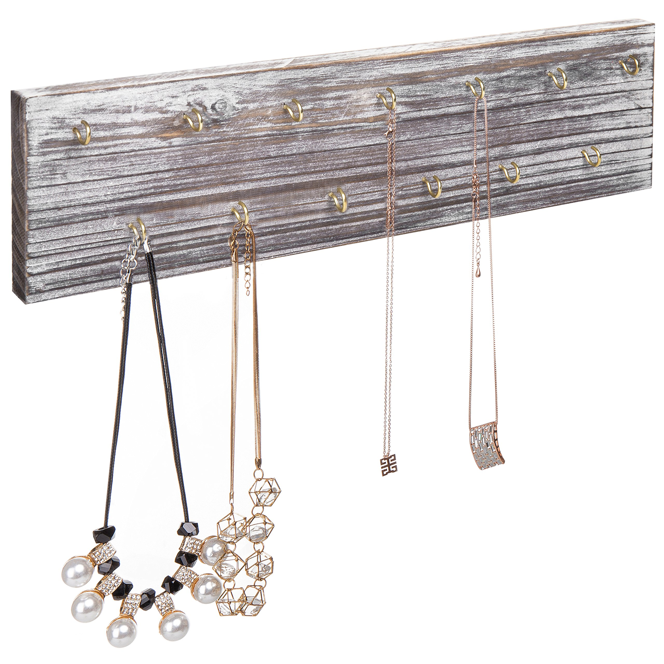 MyGift Rustic Wood Wall-Mounted 13-Hook Necklace Organizer