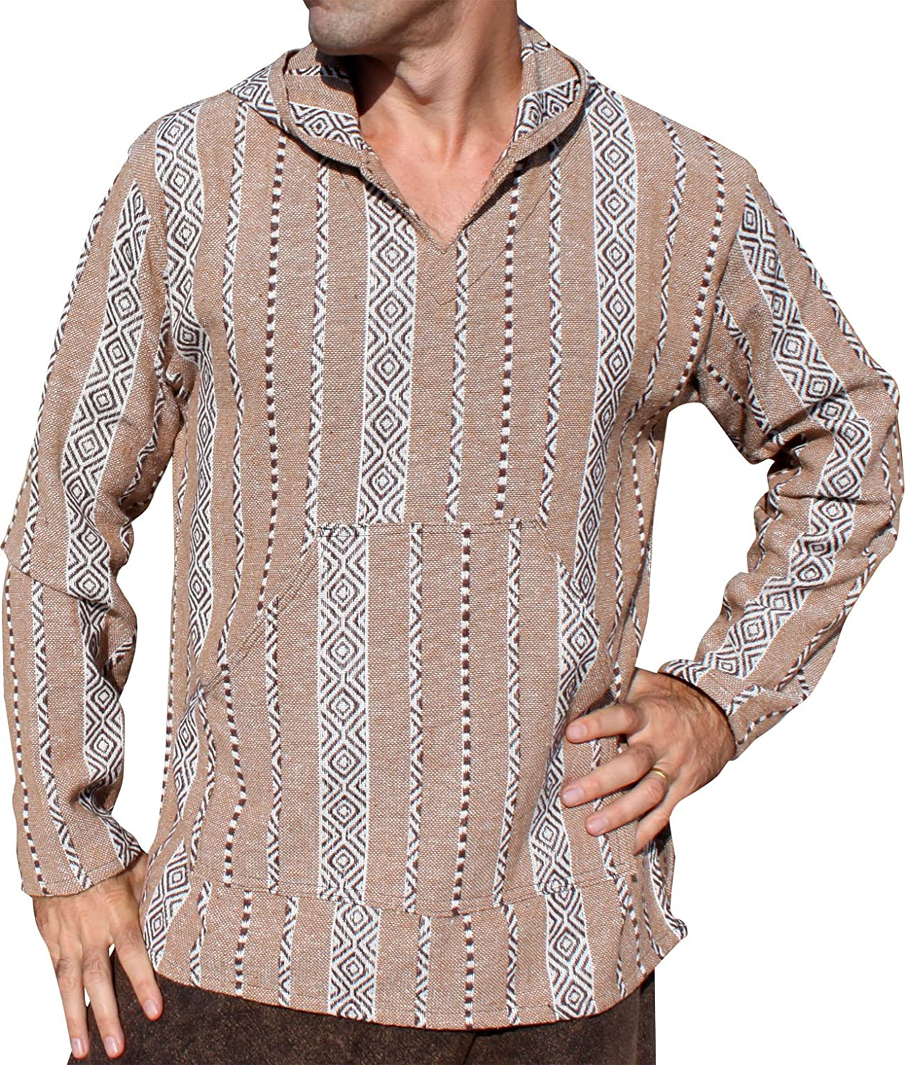 RaanPahMuang Thick Woven Cotton Warm Hoody Jacket Mexican Andes Weave Design
