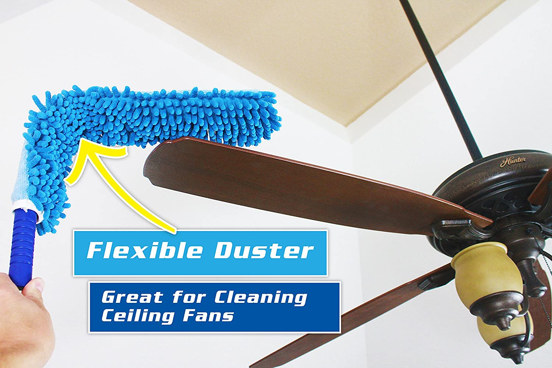 Blinds Cars Shutters Jet Clean Chenille Microfiber Flat Hand Duster-Dust Appliances Furniture Ceiling Fans Delicate Surfaces-Chenille-Extension Pole Reach 25-44