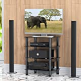 Fitueyes 4-tier Media Component Stand Audio Cabinet with Glass Shelf for /Apple Tv/xbox One/ps4