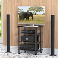 FITUEYES 4 Tiers Media TV Stand Audio Video Cabinet with Glass Shelf for Cable Box/Xbox One/PS4 AS406001GB