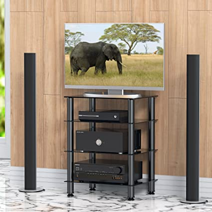 Fitueyes 4 Tier Media Stand Audio/Video Component Cabinet With Glass Shelf  For /