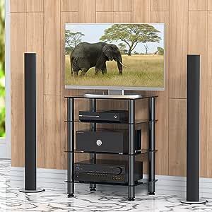 FITUEYES Mueble HiFi con 4 Estante de Vidrio Templado Soporte para Equipo de Música 60 x 45,5 x 76 cm: Amazon.es: Electrónica