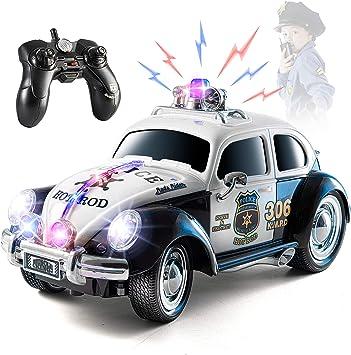 Coche de policía con control remoto Top Race, con luces y sirenas | Coche de policía RC para niños | Fácil de controlar, neumáticos de goma, estilo antiguo y resistente para escarabajos: