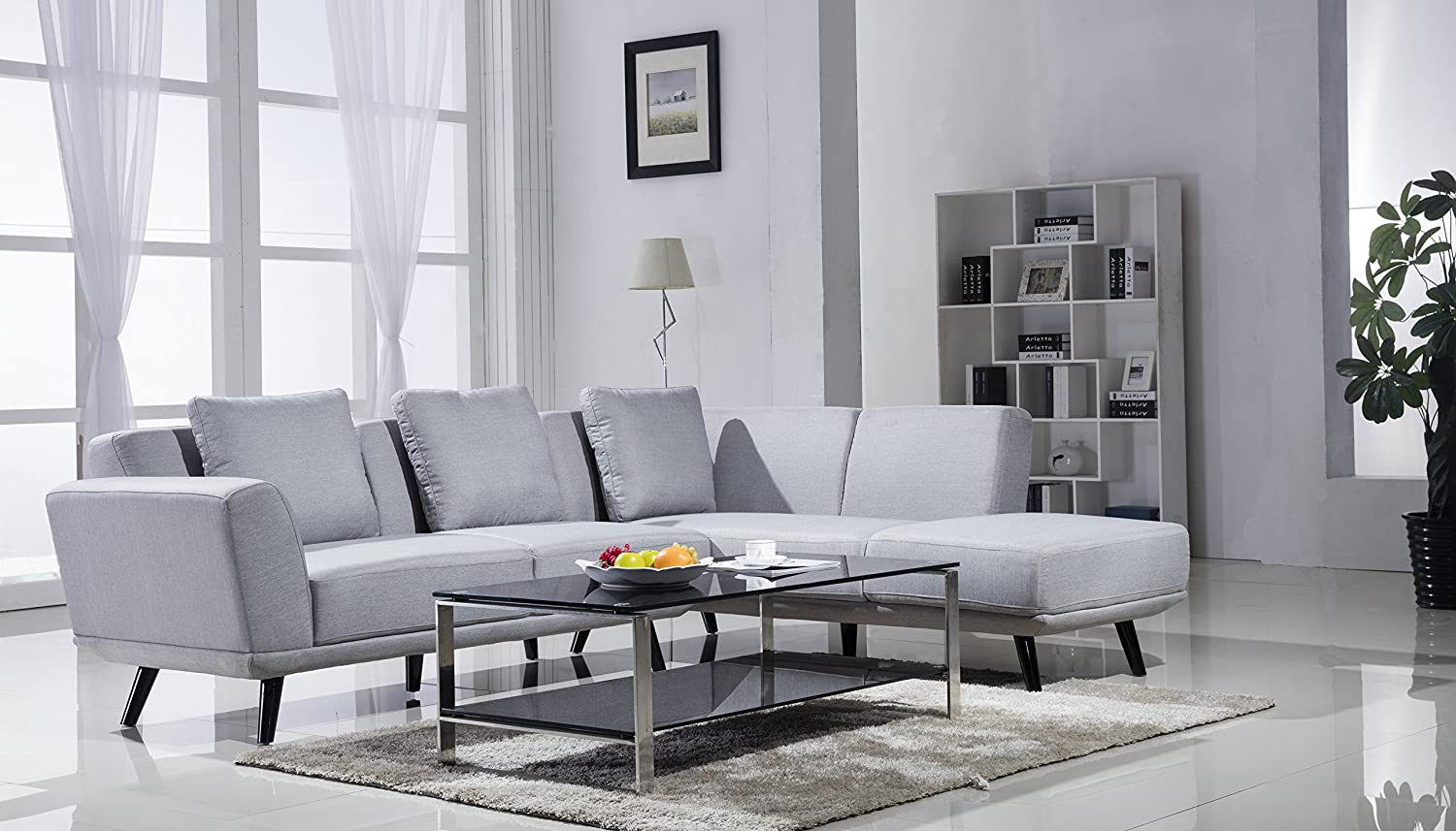 Amazon.com: Mid Century Modern Linen Large Sectional Sofa (Left Chaise,  Light Grey): Kitchen U0026 Dining