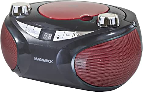 Magnavox MD6949 CD Boombox with AM/FM Radio & Bluetooth Wireless Technology - Red/Black
