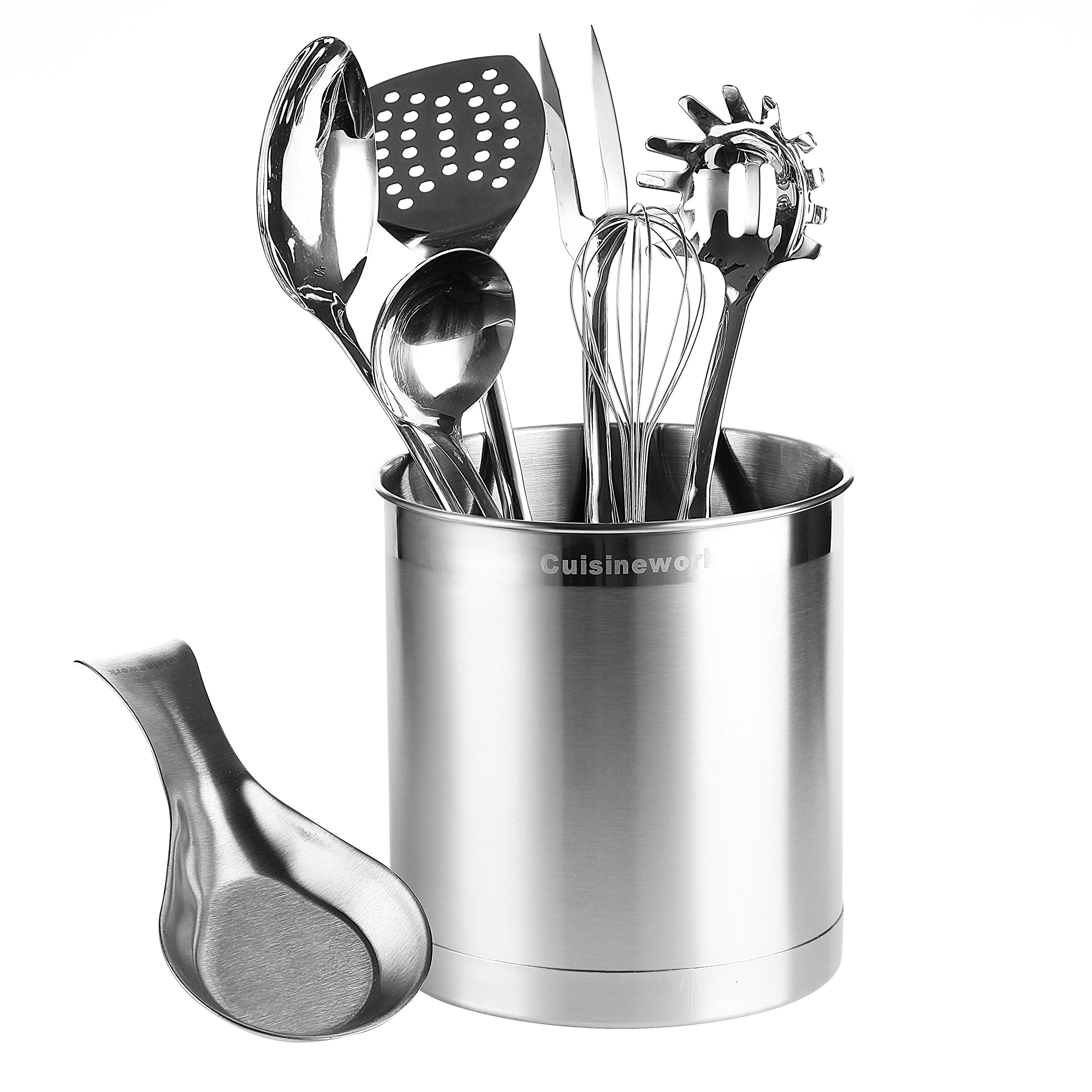 Kitchen Helper Bundles - Jumbo Stainless Steel Huge Capacity Utensil Holder with Weighted Based and Spoon Rest by Cuisinework