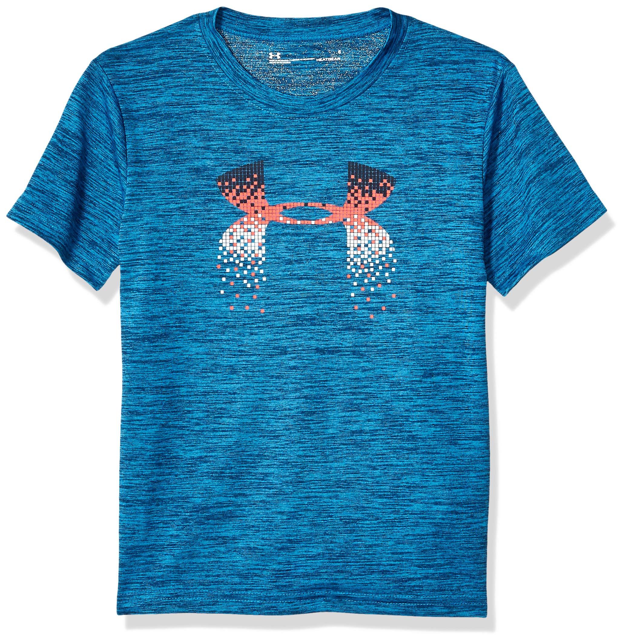 Under Armour Boys' Little Big Logo Short Sleeve Tee Shirt, Petrol Blue-S193, 7 by Under Armour