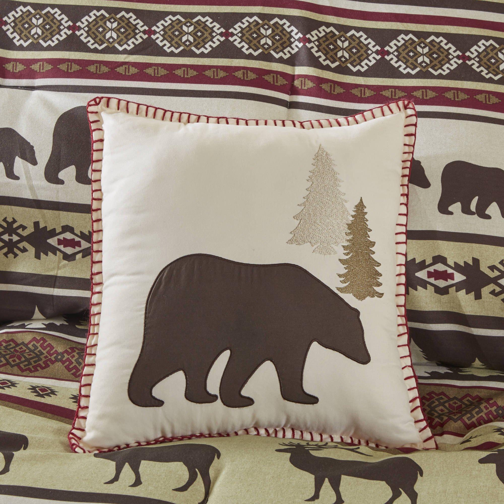 7 Piece Brown Red Cabin Lodge Stripes Pattern Comforter King Set, Beautiful Pine Trees, Bears, Elk Deer, Hunting Animal Stripe-Inspired Nature Motif Design, Soft & Comfy Bedding, Polyester, Unisex by AD (Image #4)