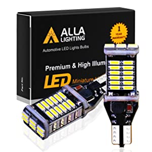 Alla Lighting 912 921 LED Reverse Light Bulbs Extremely Super Bright 4014 30-SMD CANBUS 921 LED Bulbs RV T15 T10 906 W16W Back up, Cargo Lights Replacement, 6000K Xenon White
