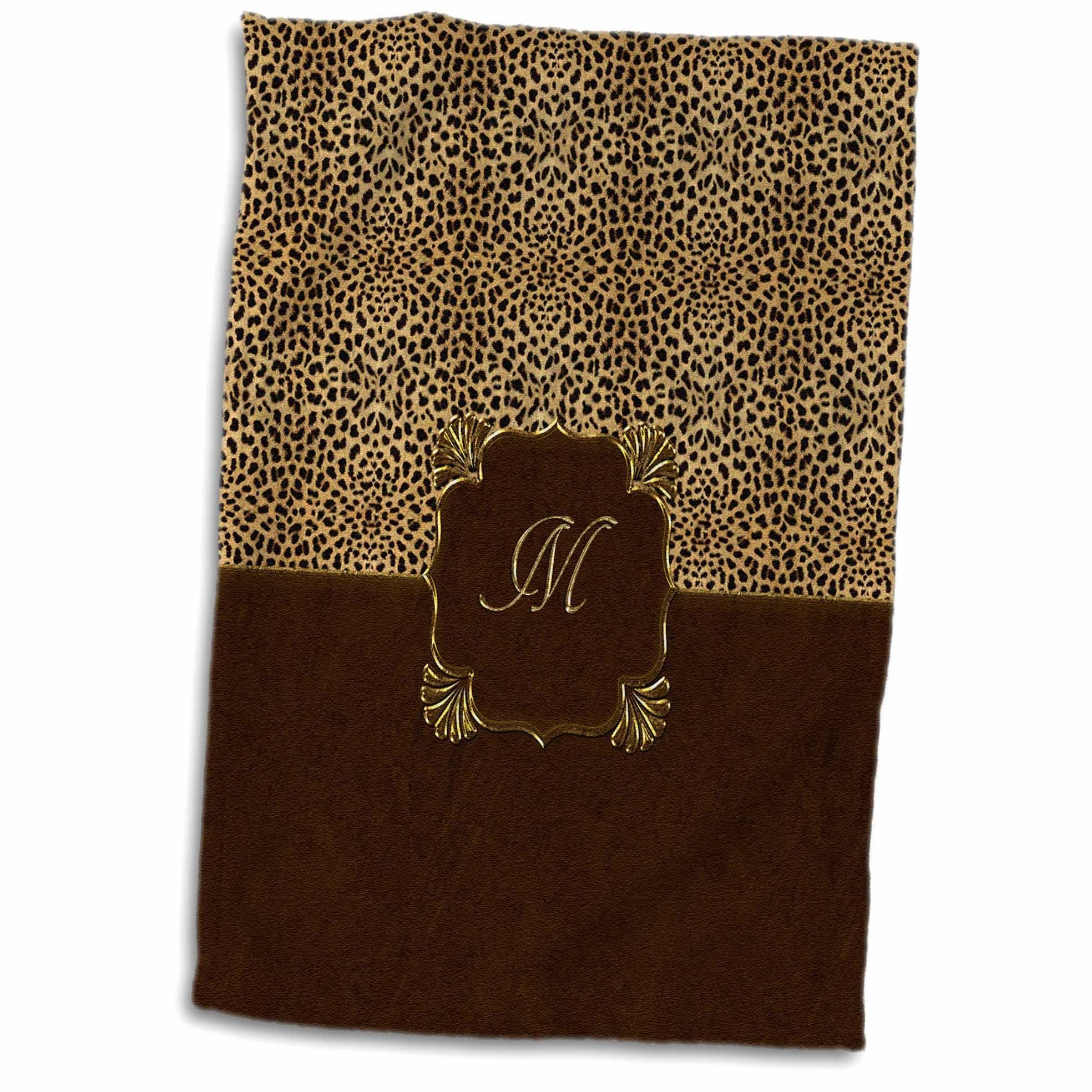 3D Rose Elegant Cheetah Animal Print with Gold Framed Monogram Letter M Hand/Sports Towel, 15 x 22