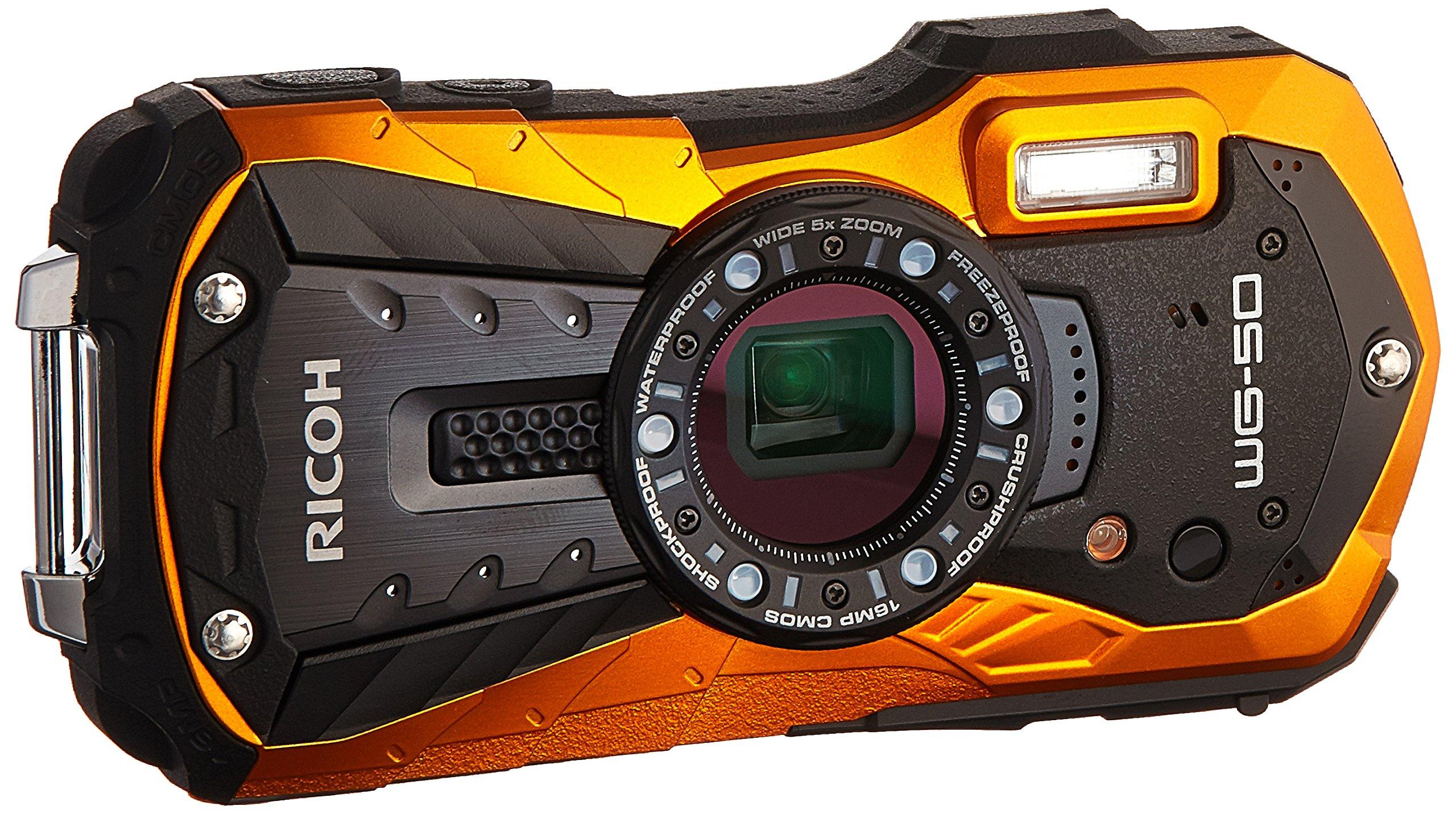 Ricoh 16 Waterproof Still/Video Camera Digital with 2.7'' LCD, Orange (WG-50 orange) by Ricoh