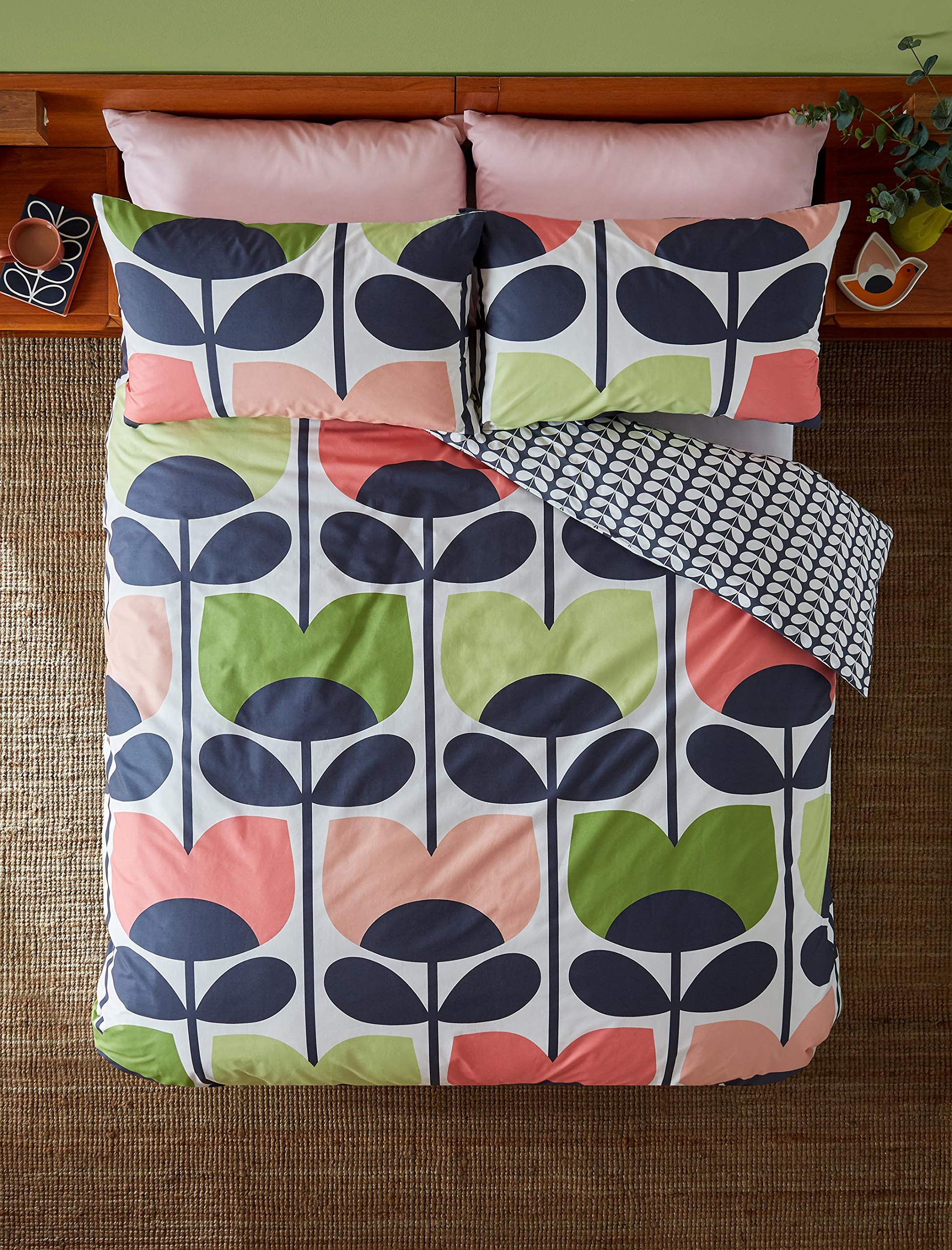 ORLA KIELY CLMBING ROSE PINK 100% COTTON 200TC USA QUEEN SIZE (230CM X 220CM - UK KING SIZE) 3 PIECE BEDDING SET