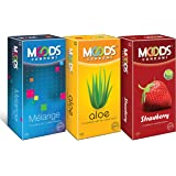 Moods Condoms Combo (Melange - 12 Count, Aloe - 12 Count, Strawberry - 12 Count)